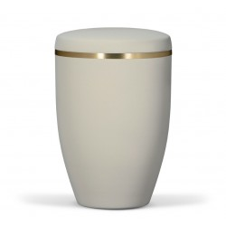 Beige Steel with Gold Band Funeral Cremation Ashes Urn for Adult (746)