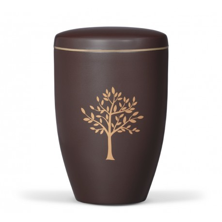 Brown Steel with Gold Tree Funeral Cremation Ashes Urn for Adult (745)
