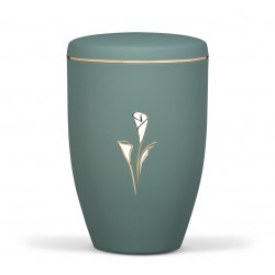 Olive Green Steel with Calla Lily Funeral Cremation Ashes Urn for Adult (744)
