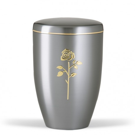 Silver Steel with Rose Funeral Cremation Ashes Urn for Adult (742)