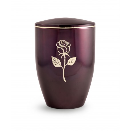 Beautiful Burgundy with Gold Rose Funeral Cremation Ashes Urn for Adult (750)