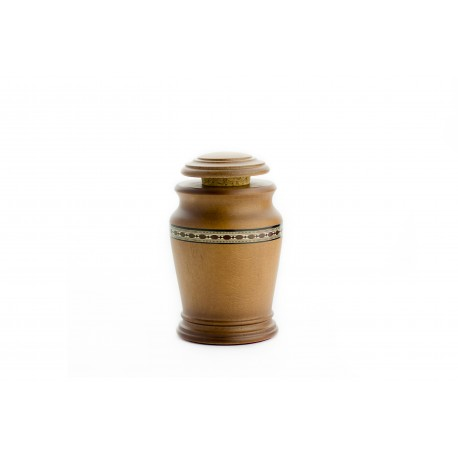 Mini Keepsake Light Brown Solid Wood Funeral Cremation Ashes Urn (831)