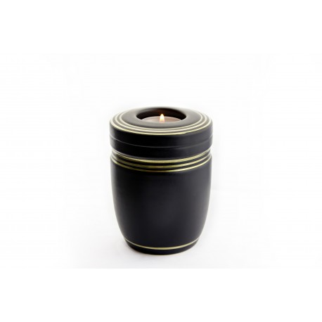 Mini Keepsake Black Ceramic Funeral Cremation Ashes Urn (835)
