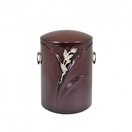 Burgundy Composite with Embossed Leaves and Silver Lily Funeral Cremation Ashes Urn for Adult (523)