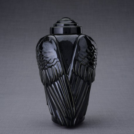 """Art Ceramic Funeral Cremation Ashes Urn for Adult – """"Wings"""" – Black Gloss (410)"""