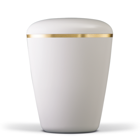 Creamy White with Gold Band Biodegradable Funeral Cremation Ashes Urn for Adult (602)