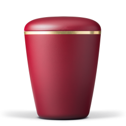 Burgundy Red with Gold Band Biodegradable Funeral Cremation Ashes Urn for Adult (604)