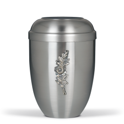Silver Steel With Small Rose Bouquet Emblem Funeral Cremation Ashes Urn for Adult (702)