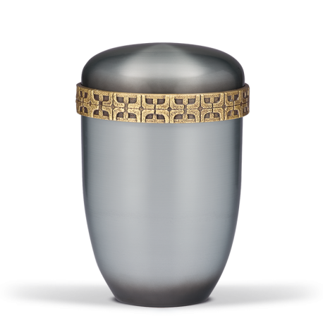 Silver Steel with Brass Cross Motif Band Funeral Cremation Ashes Urn for Adult (706)