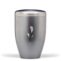 Silver Steel with Calla Lily Funeral Cremation Ashes Urn for Adult (707)
