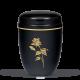 Black Steel with Gold Rose Emblem Funeral Cremation Ashes Urn for Adult (709)