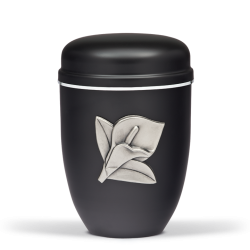 Black Steel with Big Silver Calla Lily Emblem Funeral Cremation Ashes Urn for Adult (710)