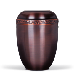 Dark Copper Colored Metal with Oak Leaves Band Funeral Cremation Ashes Urn for Adult (712)