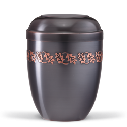 Dark Tinted Metal With Embossed Oak Leaf Band Funeral Cremation Ashes Urn for Adult (713)