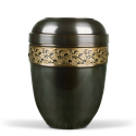 Dark Tinted Metal with Brass Band Funeral Cremation Ashes Urn for Adult (715)