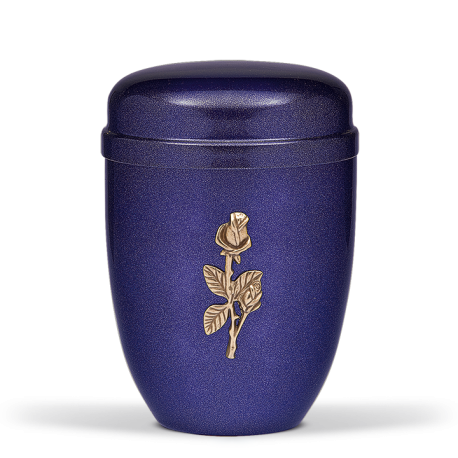 Cobalt Blue Mother Of Pearl Steel with Single Rose Brass Emblem Funeral Cremation Ashes Urn for Adult (717)