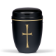 Black Steel with Gold Cross Emblem Funeral Cremation Ashes Urn for Adult (718)