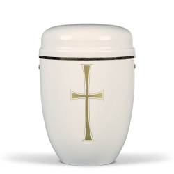 White Steel with Gold Cross Emblem Funeral Cremation Ashes Urn for Adult (719)