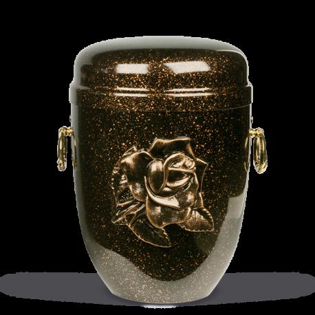 Mottled Copper Steel with Big Gold Rose Emblem Funeral Cremation Ashes Urn for Adult (720)