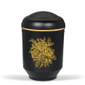 Black Steel with Gold Rose Bouquet Emblem Funeral Cremation Ashes Urn for Adult (721)