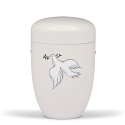White Steel with Dove Decor Funeral Cremation Ashes Urn for Adult (723)