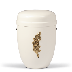 White Steel with Small Brass Rose Bouquet Emblem Funeral Cremation Ashes Urn for Adult (724)