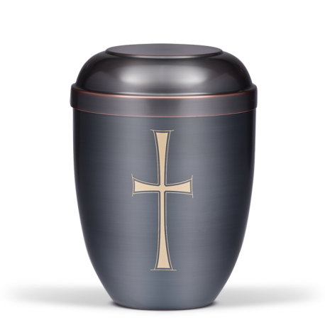 Dark Tinted with Gold Cross Funeral Cremation Ashes Urn for Adult (725)