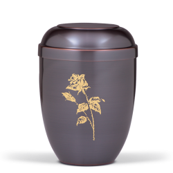 Dark Tinted with Big Gold Rose Funeral Cremation Ashes Urn for Adult (726)