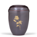 Dark Tinted Metal with Big Gold Rose Funeral Cremation Ashes Urn for Adult (726)