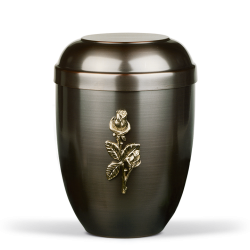 Dark Tinted with Brass Rose Emblem Funeral Cremation Ashes Urn for Adult (727)