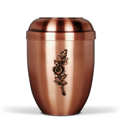 Copper Colored Metal with Single Rose Emblem Funeral Cremation Ashes Urn for Adult (728)