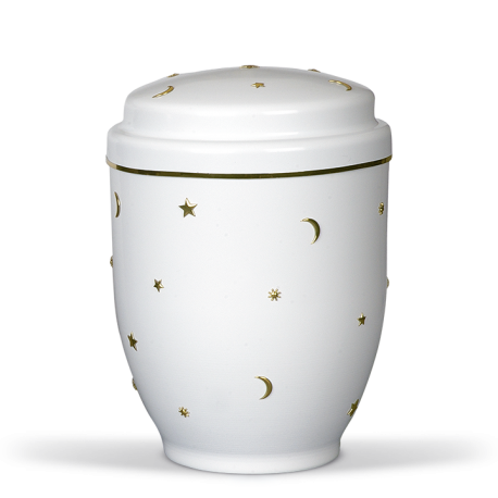 White Steel with Moon, Sun and Stars Emblem Funeral Cremation Ashes Urn for Child (350)