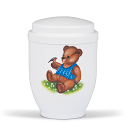 White Steel with Hand Painted Teddy Bear Funeral Cremation Ashes Urn for Child (351)