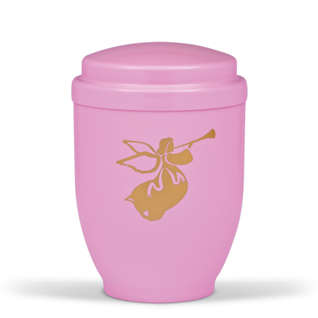 Pink Steel with Gold Angel Emblem Funeral Cremation Ashes Urn for Child/Girl (352)