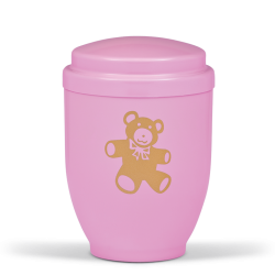 Pink Steel with Gold Teddy Bear Emblem Funeral Cremation Ashes Urn for Child/Girl (353)