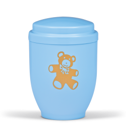 Blue Steel with Gold Teddy Bear Emblem Funeral Cremation Ashes Urn for Child/Boy (355)