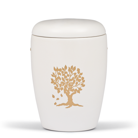 White Ceramic with Gold Tree Emblem Funeral Cremation Ashes Urn for Adult (401)