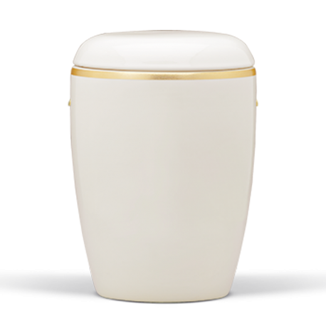White Ceramic with Brushed Gold Band Funeral Cremation Ashes Urn for Adult (402)