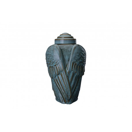"Art Ceramic Cremation Ashes Urn for Adult - ""Wings"" - Oily Green Melange (409)"
