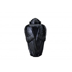 "Art Ceramic Funeral Cremation Ashes Urn for Adult – ""Wings"" – Black Gloss (410)"