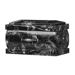 Stone Casket Black Zebra Marble Funeral Cremation Ashes Urn for Adult (118)