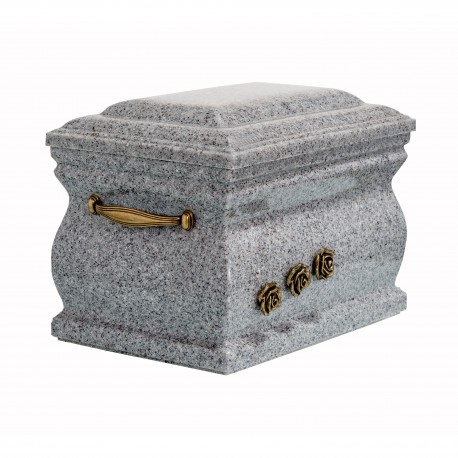 Granite Composite Casket Shape with Brass Roses Funeral Cremation Ashes Urn for Adult (505)