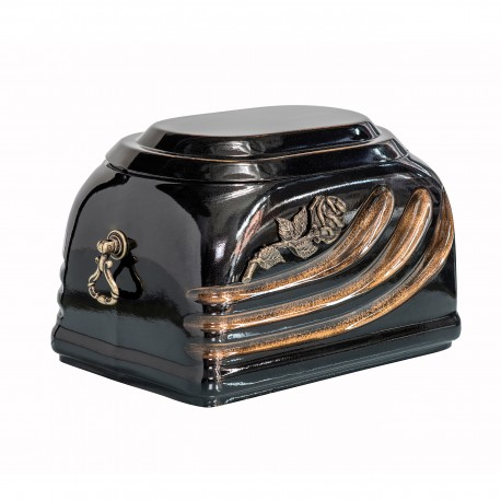Black Composite (Marble & Stone) Casket with Brass Rose Funeral Cremation Ashes Urn for Adult (515)