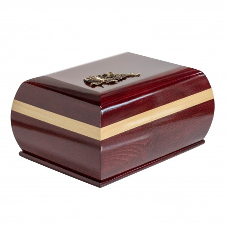 Mahogany Solid Wood Casket Shape with Brass Calla Lily Funeral Cremation Ashes Urn for Adult (215)