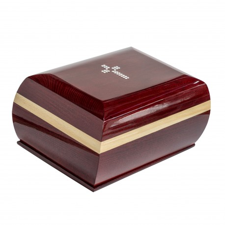 Mahogany Solid Wood Casket Shape with Swarovski Crystals Cross Funeral Cremation Ashes Urn for Adult (910)
