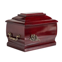 Mahogany Solid Wood Casket Funeral Cremation Ashes Urn with Brass Calla Lily for Adult (204)