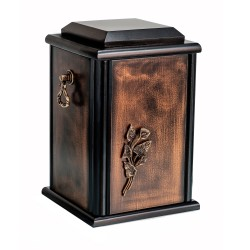 Dark Walnut Solid Wood Casket Funeral Cremation Ashes Urn with Brass Calla Lily for Adult (201)