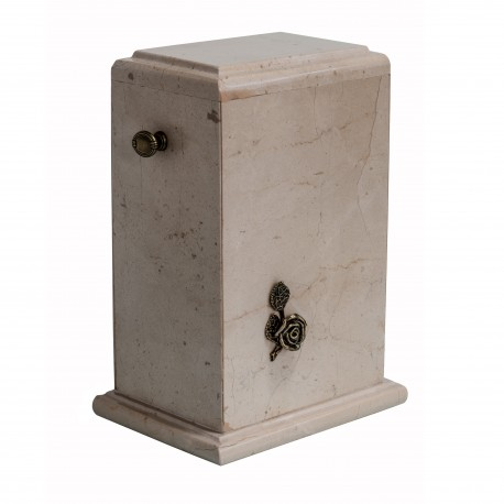 Stone Botticino Marble with Brass Rose Funeral Cremation Ashes Urn for Adult (125)