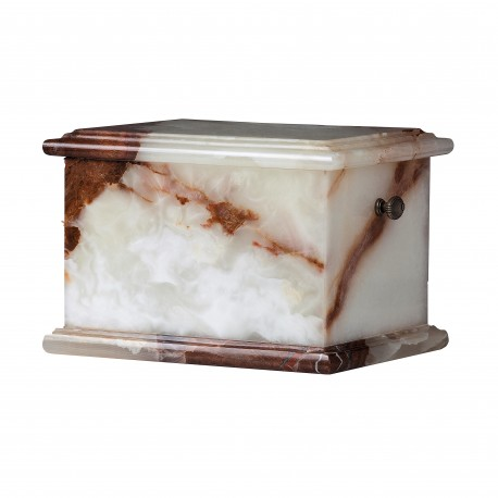 Stone Casket White Onyx Funeral Cremation Ashes Urn for Adult (104)