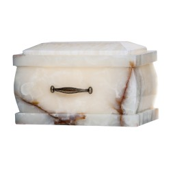 Stone Casket White Onyx Funeral Cremation Ashes Urn for Adult (120)